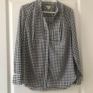 J. Crew Black and White Plaid Long Sleeve Blouse